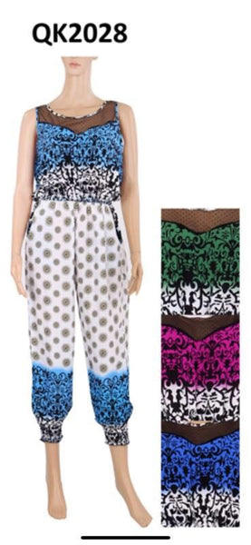 QK2028-SUMMER JUMPSUIT(4 SIZES-4 COLORS, 12 PCS IN EACH PACKAGE)