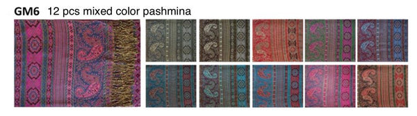 GM-6-METALLIC PASHMINA(12 PCS, MIXED IN A PACKAGE)