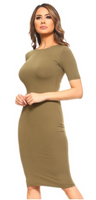 CLOTHING:LADIES DRESSES:DRS002-OLV(6 PCS IN A PACKAGE)