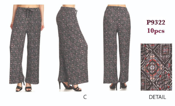 P9322 C-PRINT PLEAT PANTS(10 PCS IN A PACKAGE)