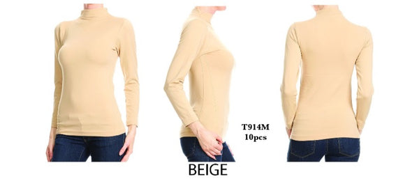 T914M BEIGE-LONG SLEEVE MOCK NECK(10 PCS IN A PACKAGE)