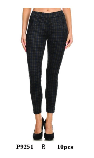P9251 B-WOMENS CHECK PANTS(10 PCS IN A PACKAGE)