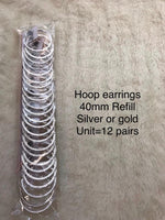 DIAMOND HOOP EARRING REFILL-40 MM(12 PCS UNIT)