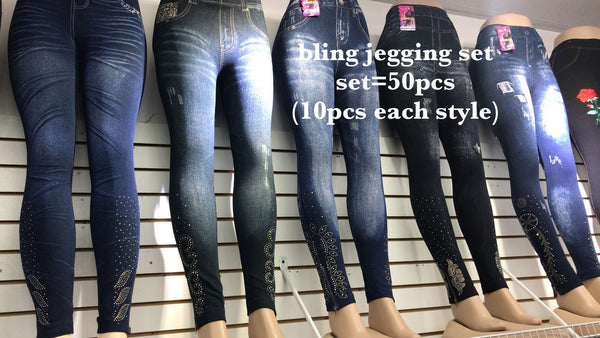 A6 SPARKLY JEGGINGS (50 PCS IN A SET 10 PCS EACH STYLES) BOX
