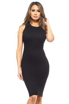 DRS004-BLK-Crew Neckline Bodycon(6 PCS IN A PACKAGE)