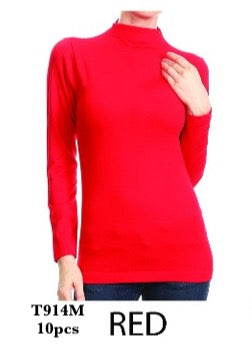 T914M RED-LONG SLEEVE MOCK NECK(10 PCS IN A PACKAGE)