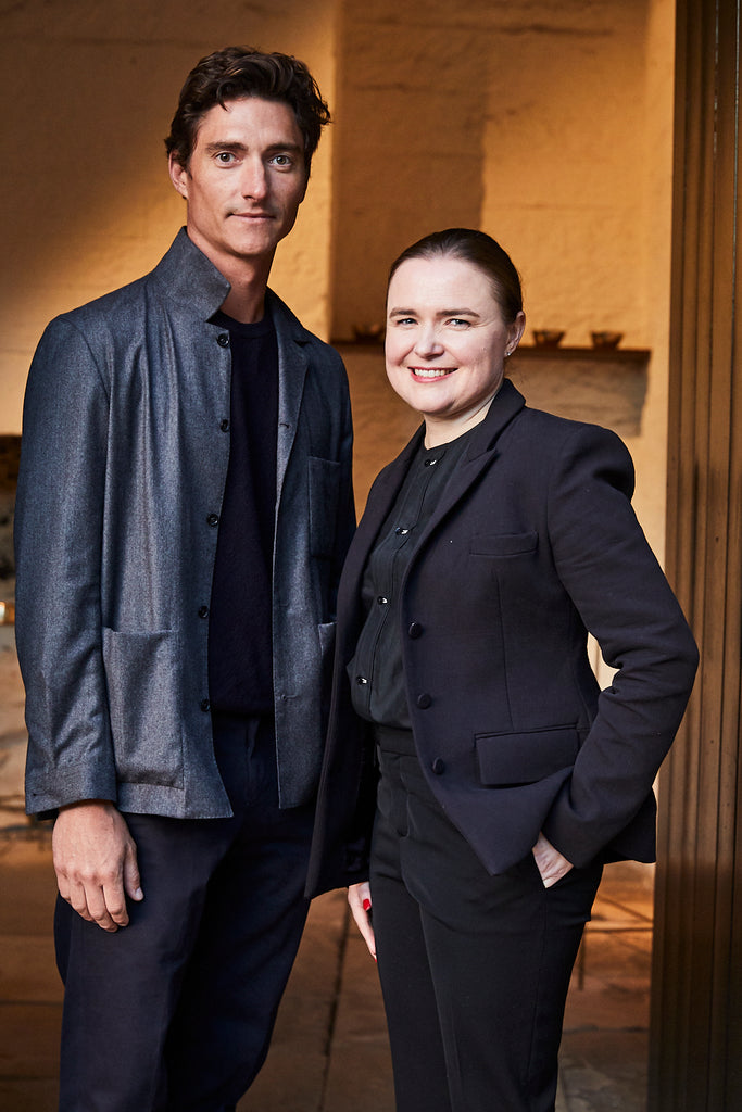 Portrait of Henry Wilson and Kate Forbes in Sydney. The launch of Aesop Brass Oil Burner.