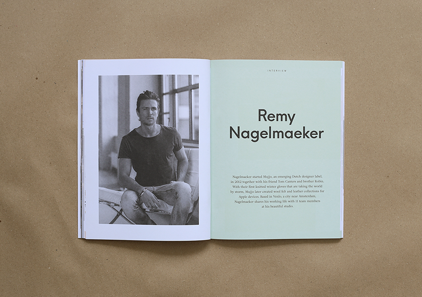 travel magazine with clean and minimal design. travel magazine published in Malaysia. accessory leather product Mujjo. interview with remy nagelmaeker. story in amsterdam