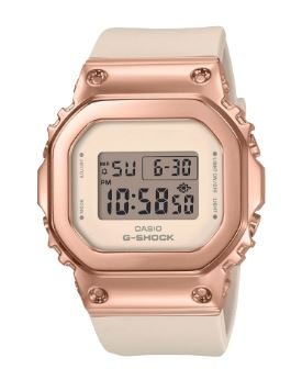 Women's G-Shock White Strap Rose Gold Face