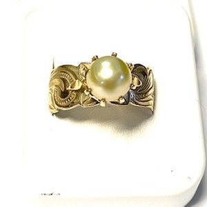 9ct. Gold 12mm Hawaiian Yellow Pearl Ring