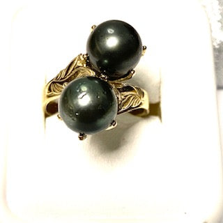 9ct. Gold Twin Black Pearl Ring