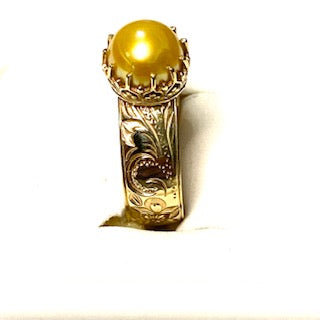 9ct. Gold 8 mm Hawaiian Yellow Pearl Ring