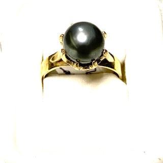 9ct. Gold Black Pearl Ring