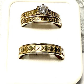 9ct. Gold His and Her's 3 Piece Rings Set
