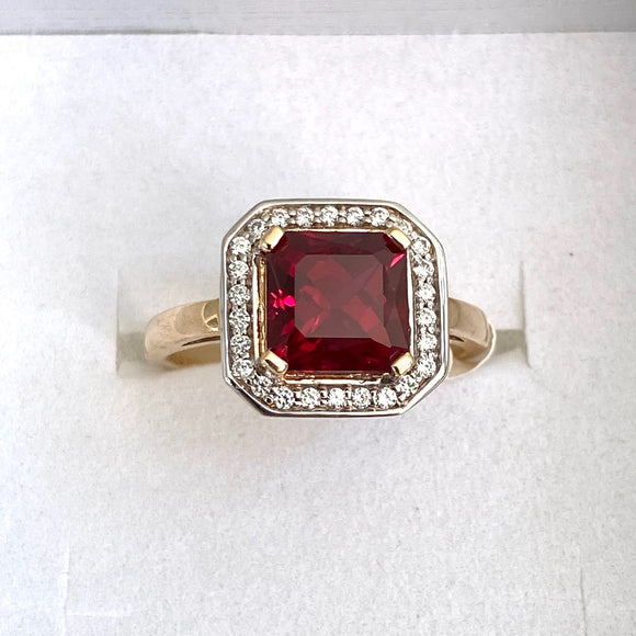 9ct. Gold Created Ruby/CZ Ring