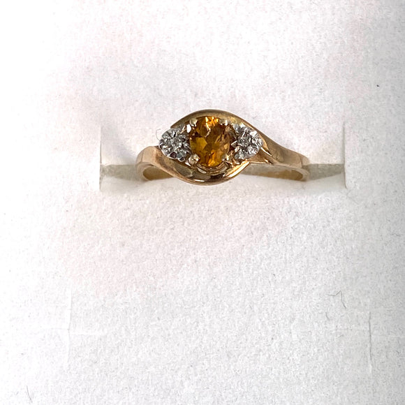 9ct. Gold Citrine/Diamond Ring