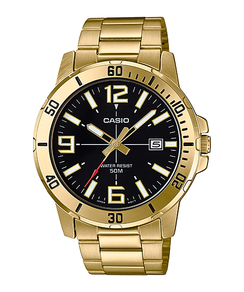 Casio MTP-VD01G-1B Mens Stainless Steel Gold Watch