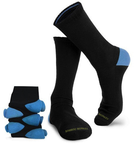 bamboo business socks with cushioned soles and blue colour coded heels