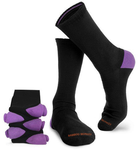 bamboo business socks with cushioned soles and purple colour coded heels