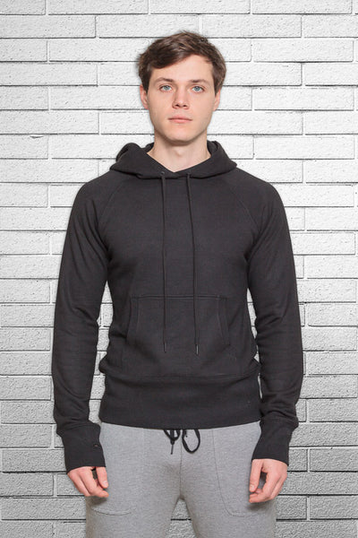 Monkey Sox Slim Fit Bamboo Hoodie in Black front view