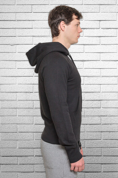 Monkey Sox Slim Fit Bamboo Hoodie in Black side view