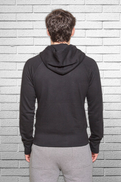 Monkey Sox Slim Fit Bamboo Hoodie in Black back view