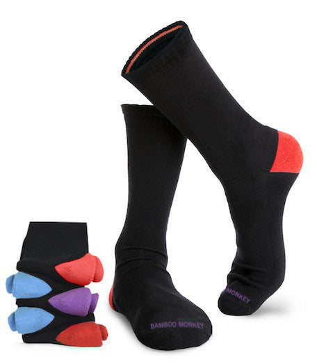 Bamboo business socks with mixed colour heels