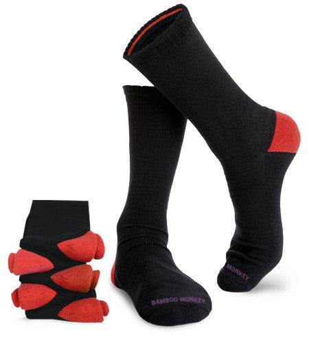 Bamboo business socks with red colour heels