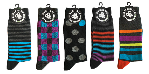 Bamboo sock pack with a mix of designs