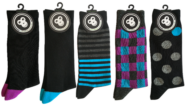 Monkeysox urban pack includes two plain black, and three patterned bamboo socks.