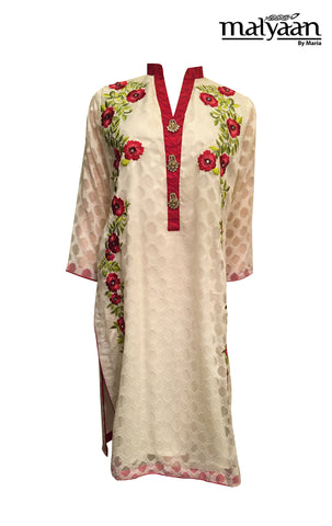 MAL026 - Cream and Red Floral Detailed Suit