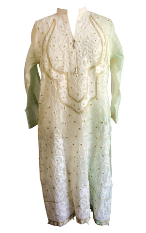 AGH183 - White and Pale Green Cotton Net