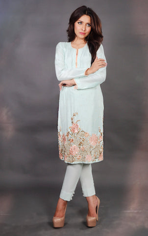 NF3013 - Pastel Blue Pure Silk Suit
