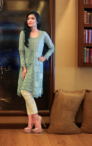 NF1020 - Mint Green Cotton Net Tunic