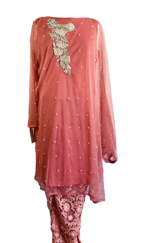 MU122 - Tea Pink Suit with Lace Trousers