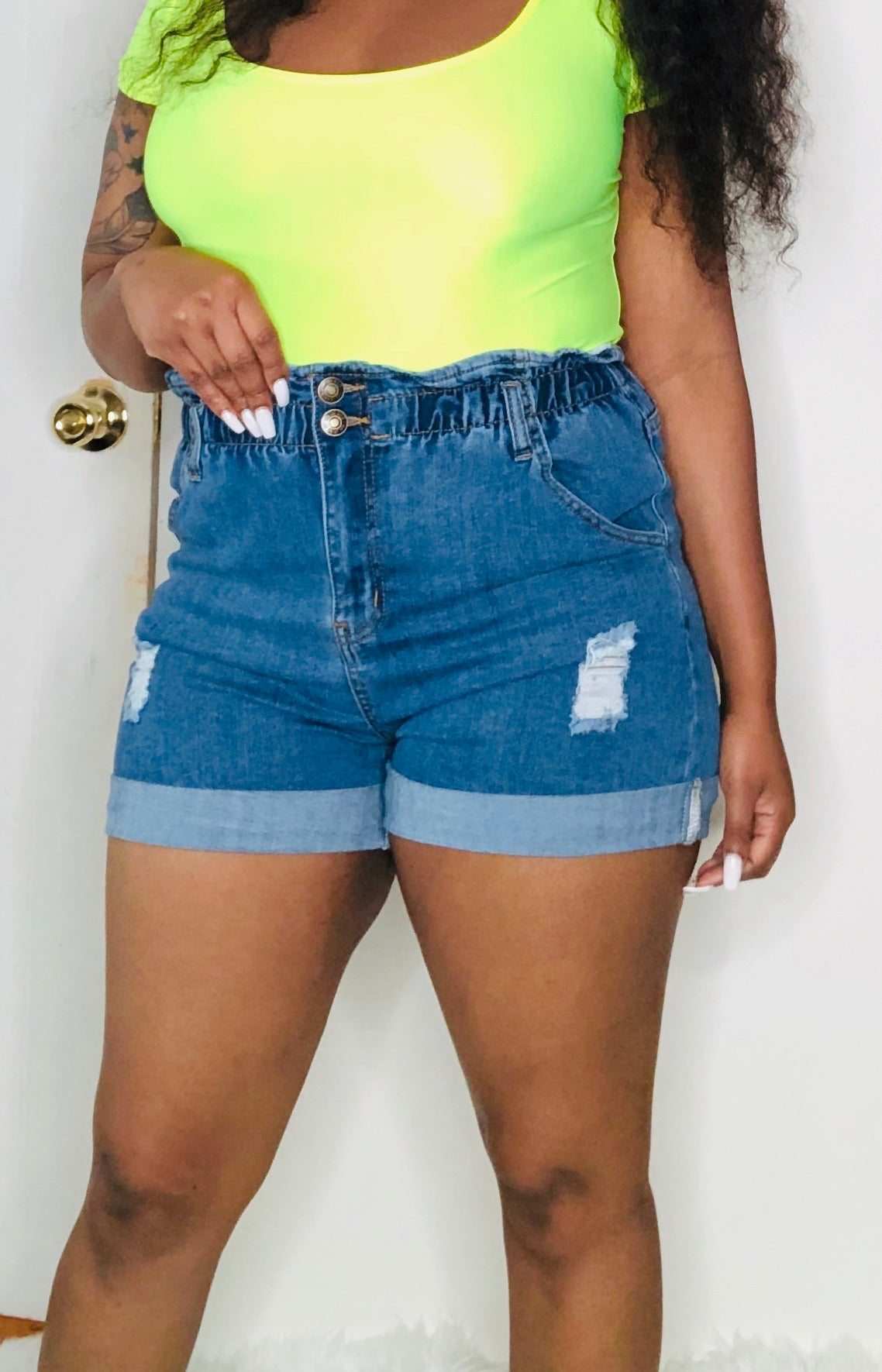 Ruched High Waist Shorts