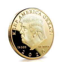 "Load image into Gallery viewer, 𝗗𝗼𝗻𝗮𝗹𝗱 𝗝. 𝗧𝗿𝘂𝗺𝗽 2020 ""Keep America Great"" Gold Commemorative Coin"