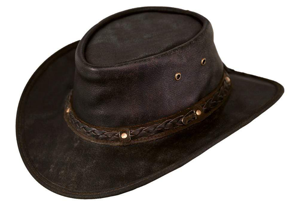Outback Trading Company Ironbark Leather Hat CHOCOLATE / SM 1377-CHO-SM