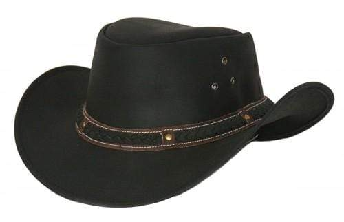 Outback Trading Company Wagga Wagga Leather Hat BLACK / SM 1367-BLK-SM