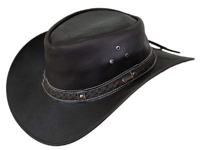 Outback Trading Company Wagga Wagga Leather Hat CHOCOLATE / SM 1367-CHO-SM