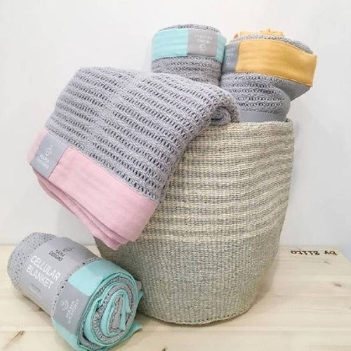 Breathable Cellular Cotton Blankets Pram & Cot Sizes - Mama Designs (SALE)