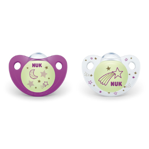 Glow In The Dark Soothers Size 0-6 Months Twin Pack - NUK