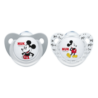 Disney Mickey & Minnie, Twin Pack 6-18M Silicone Soothers - RETRO - NUK