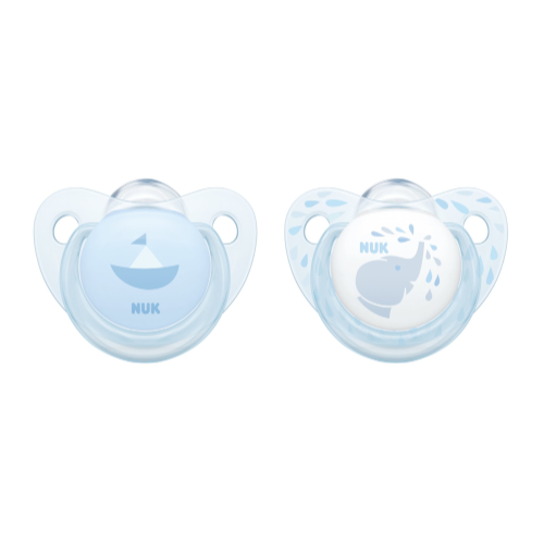 Pink or Blue Twin Pack, SILICONE Soothers - NUK