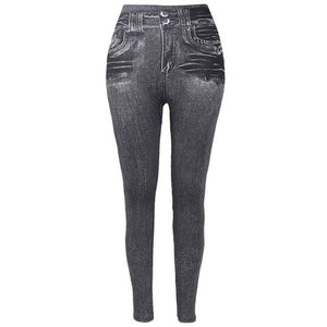 Dames Jeans Leggings Met Fleece Voering