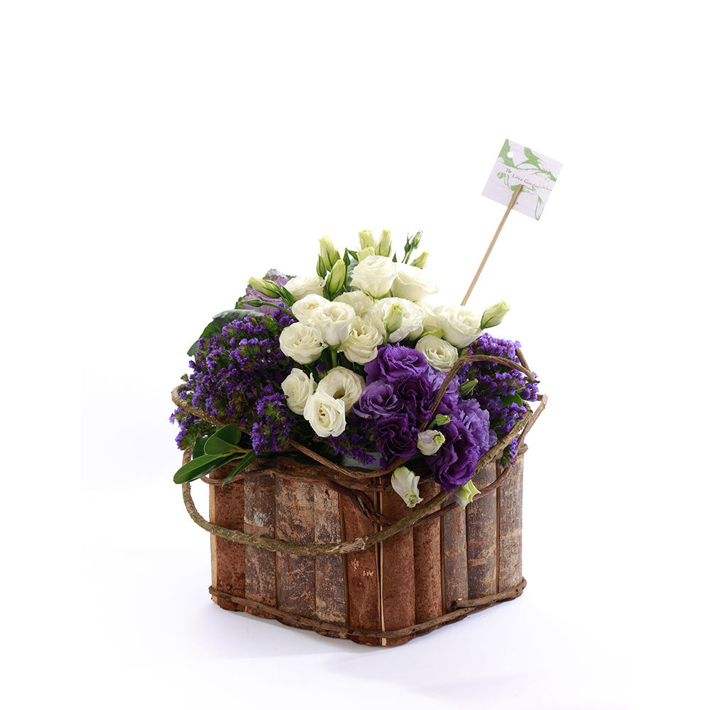 White and Violet Love Basket