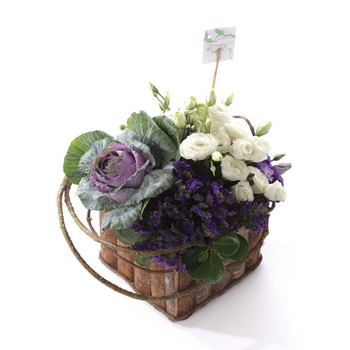 Lisianthus with Cabbage Rose Love Basket