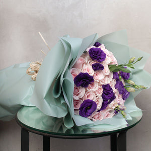 Pale Pink Roses with purple lisianthus