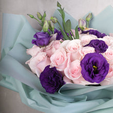 Load image into Gallery viewer, Pale Pink Roses with purple lisianthus