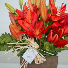 Load image into Gallery viewer, Red Lilies Vase Arrangement